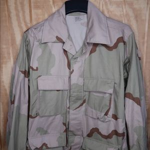 Tan military  shirt button up size medium